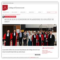 Visuel de l'article consacré au concours de plaidoyers du Collège de droit de l'université Paris 2 Panthéon-Assas