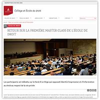 Visuel de l'article consacré à la première édition de la master class de l'École de droit