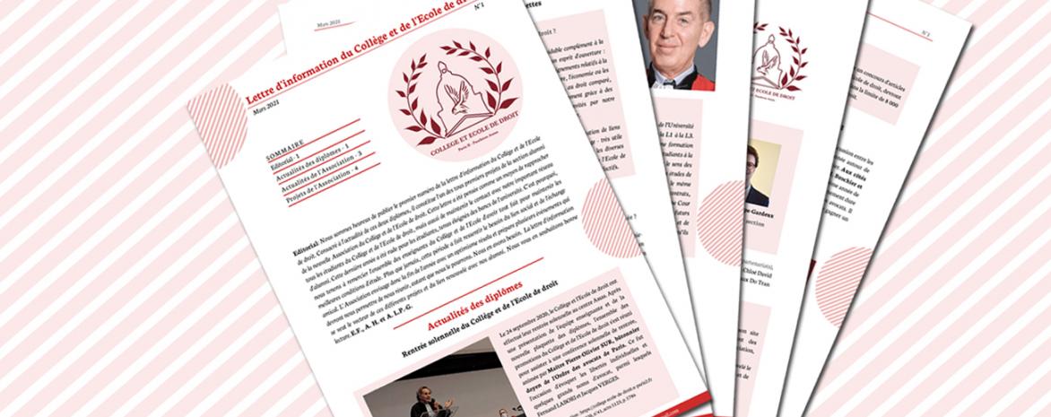 Visuel de la lettre d'information du collège de droit et d el'école de droit